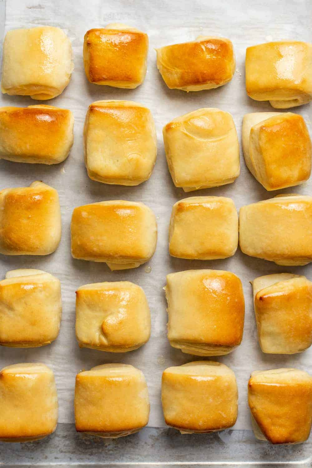 Baked parker house rolls on a parchment-lined baking sheet