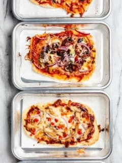 Assorted pizzas made with 30 minute pizza crust on mini baking sheets