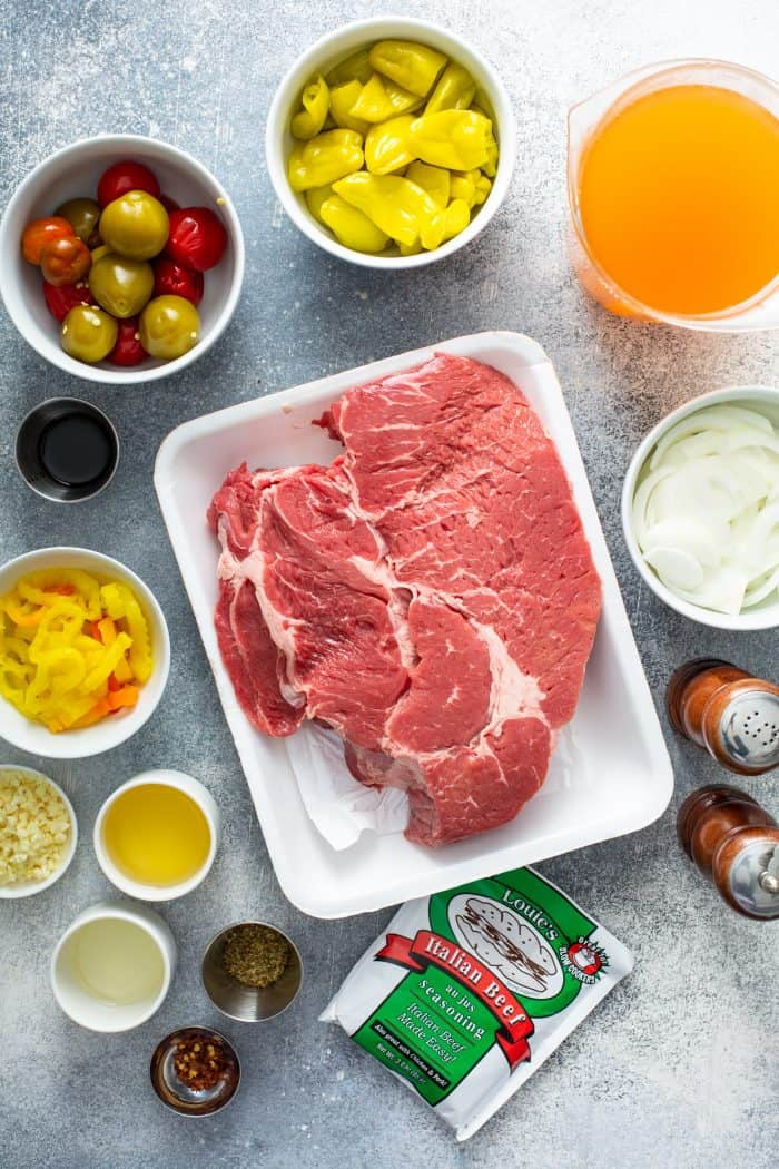 Ingredients for italian beef arranged on a countertop