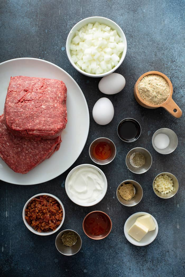Easy meatloaf ingredients on a gray counter