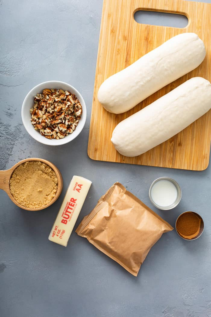 Pecan sticky bun ingredients in a gray countertop
