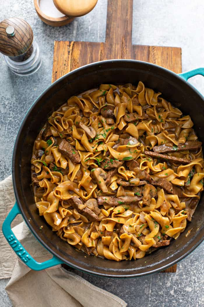 Cooked one-pot beef stroganoff in a dutch oven