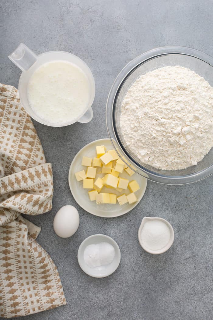 Ingredients for Irish soda bread on a gray counter