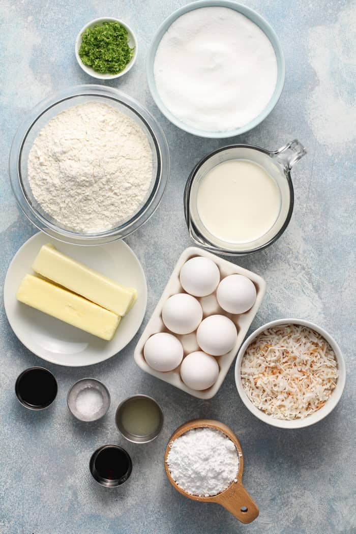 Ingredients for lime coconut cake arranged on a countertop