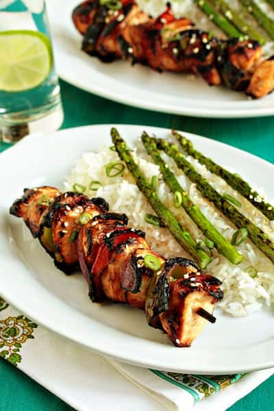 chicken kebabs with romesco sauce turkish spiced chicken kebabs ...