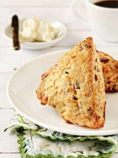Two bacon chocolate scones on a plate