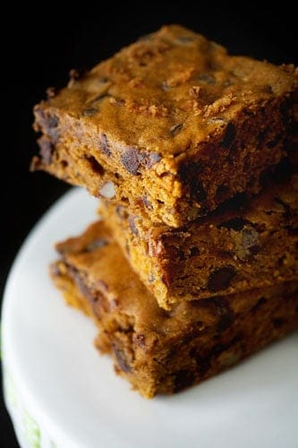 pumpkin blondies, pumpkin, pumpkin recipes, pumpkin shortage, canned pumpkin recipes