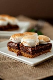 Smore brownie on a white plate